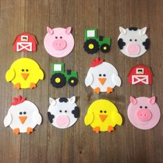 Farm Animals /Barnyard Theme Cupcake Toppers - Edible Fondant - Set of 12 Farm Animal/Barnyard Cupcake Toppers Set of by SouthernConfection Barnyard Cupcakes, Farm Animal Cupcakes, Themed Cupcakes, Cupcake Tier, Fondant Cupcake Toppers, Rose Cupcake, Farm Crafts, Preschool Crafts, Kids Crafts