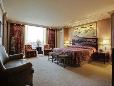 Asian Guest Bedroom with Carpet, Standard height, flat door, can lights, picture window