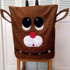 Reindeer Chair Cover By Ryerson, Annette - x Project Time: Hour… Christmas Sewing, Christmas Projects, Holiday Crafts, Winter Christmas, All Things Christmas, Christmas Time, Chair Back Covers, Chair Backs, Christmas Chair Covers