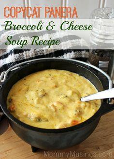 Copycat: Panera Broccoli Cheddar Soup Recipe ~ Says: This recipe pretty much nails the original at Panera— it's creamy, cheesy and delicious!
