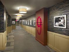Vamped public interior corridor. #design #msd #sansom #philadelphiabuilding #public #wolfgordon #navy #gold #red #9