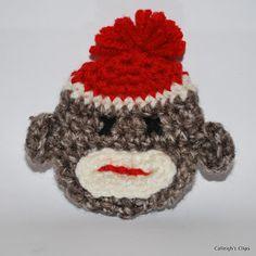 Calleigh's Clips & Crochet Creations: Free 3-D Sock Monkey Applique Free Crochet Pattern