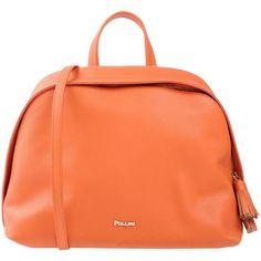 Pollini Handbag (645 BAM) ❤ liked on Polyvore featuring bags, handbags, rust, zipper handbags, zip bag, red handbags, man bag and tassel purse
