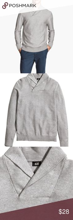Mens H&M Shawl collar sweater Mens H&M shawl collar light grey sweater in perfect condtion like new. H&M Sweaters