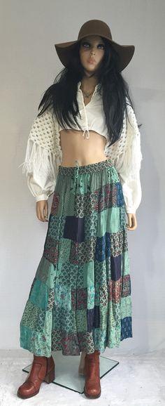 Vintage Patchwork Peasant Gypsy Skirt  Long by GypsysClosetVintage