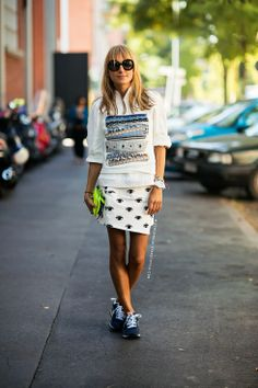 I would love to learn how to pull off wearing sneakers.