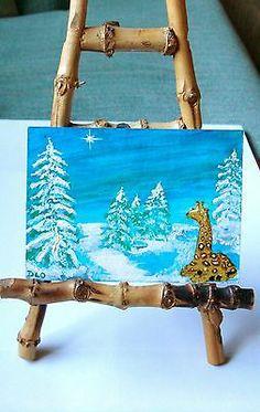 ACEO Nfac Original Giraffe Bethlehem Star Christmas Snow Nibblefest Artbydelo   eBay