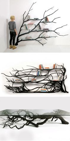 Artist Sebastian Errazuriz found a fallen tree branch and instead of letting a wood chipper decide its fate, he gave it new purpose as a modern shelving unit.