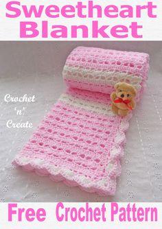 Crochet Sweetheart Baby Blanket Free Crochet Pattern - Free baby crochet pattern for crochet sweetheart baby blanket, made on a hook it is soft, sq - Crochet Afghans, Afghan Crochet Patterns, Baby Blanket Crochet, Baby Patterns, Baby Afghans, Crocheted Baby Blankets, Pink Baby Blanket, Lidia Crochet Tricot, Crochet Bebe
