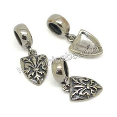 Metal beads, 925 sterling silver European bead in antique silver plating, Shield charm, Approx 8.7x21.5mm, Hole: Approx 5mm, 10 pieces per bag, Sold by bags