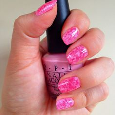 Marble nails using Saran wrap! Opi elephantastic pink with opi pink Friday on top
