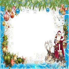 Free Chrismas png photo frame   winter frame psd with Santa Claus in the winter clearance