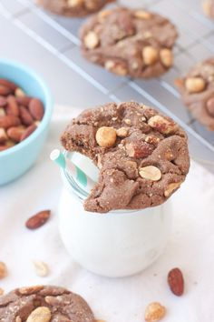 Milk chocolate peanut butter and almond cookies