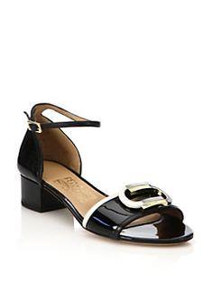 Salvatore Ferragamo - Glenn Colorblock Patent Leather Mid-Heel Sandals