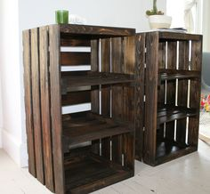 Wood crates made into shelving units! Great for use as nightstands, a coffee table to set beside your furniture! Or place along a wall to use as shelving!