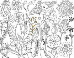 Bohemian Wild Flower Digital Stamps Foliage & Hand by FishScraps