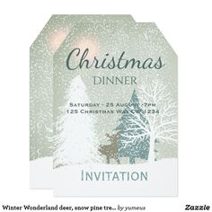 Holiday tea party invitation pinterest winter wonderland deer snow pine trees christmas invitation stopboris Images