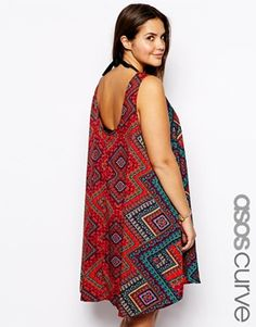 ASOS CURVE Exclusive Beach Dress With Dip Back In Bright Tribal Print