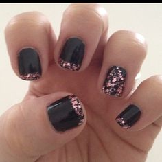 Black with pink nails