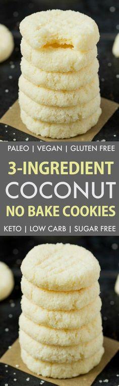 3 Ingredient Paleo Vegan No Bake Coconut Cookies (Keto, Sugar Free)