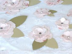 Pink Paper handmade Flowers with leaves Laura by BellaBoutique23