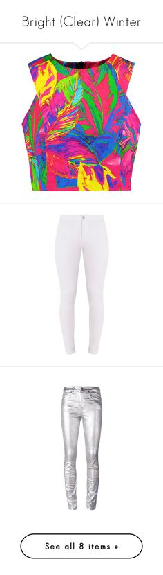 """Bright (Clear) Winter"" by samib2500 ❤ liked on Polyvore featuring tops, shirts, crop top, multi, crop shirt, shirt top, pink crop top, empire waist tops, colorful crop tops and jeans"