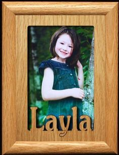 5x7 Layla ~ Portrait Laser Cut Oak PHOTO NAME FRAME ~ Holds a 4x6 or 5x7 Picture! *** Visit the image link more details. (This is an affiliate link) #BabyKeepsakeProducts