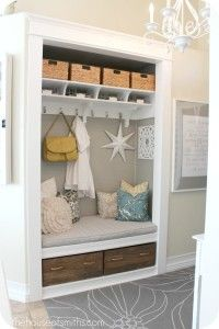 Entryway Closet Mudroom makeover after-thehouseofsmiths.com - Hooked on Houses