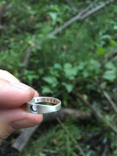 Crescent moon stamped ring in sterling silver by LucksmithMetals