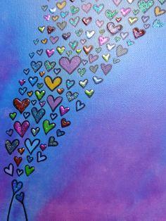 Hearts Handpainted Abstract Acrylic on by HeatherMontgomeryArt