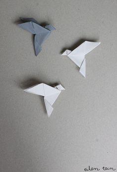 DIY origami reflector by eilen tein: heijastin / origami Origami Dove, Diy Origami, Origami Paper, Origami Birds, Origami Ideas, Origami Animals, Origami Lights, Diy And Crafts, Paper Crafts