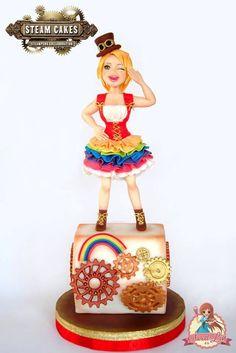 Superb Steampunk Rainbow Girl Cake