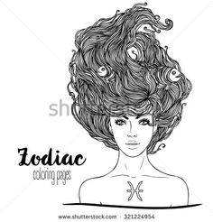Zodiac: Illustration of Pisces astrological sign as a beautiful girl. Vector. Black and white drawing isolated on white. Design for coloring book page for adults and kids. - stock vector