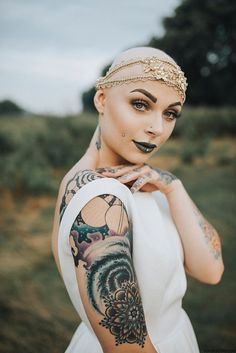 Beautiful, diverse bridal headpieces for every bride. Tattoos For Women Half Sleeve, Tattoos For Women Small, Sleeve Tattoos, Brides With Tattoos, Tattooed Brides, Tattooed Girls, Bald Girl, Wedding Tattoos, Wedding Day Inspiration