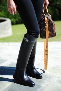 Hermes Black Jumping Boots, LV bag