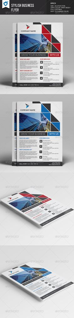 Stylish Business Flyer ...  a4 size, advertise, advertising, agency, blue, business, clean, company, company profile, corporate, creative, editable, elegant, flexible, flyer, flyer design, fresh, marketing, modern, multipurpose, office, print ready, profile, promotion, red, service, simple, template, universal