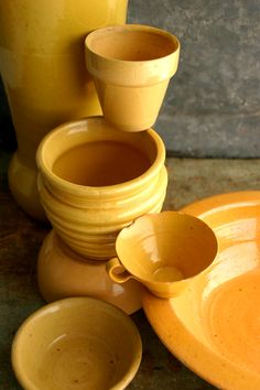 My favorite yellow ware pieces. HolidaywithMatthewMead.com Mellow Yellow, Orange Yellow, Mustard Yellow, Color Yellow, Yellow Car, Good Day Sunshine, Jaune Orange, Color Naranja, Yellow Submarine