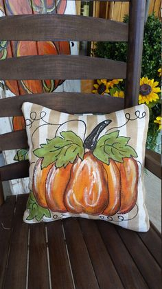 Pillow Cover, Hand-painted Pumpkin, Tan and Cream, Linen-like Fabric, Indoo. Pumpkin Pillows, Fall Pillows, Burlap Pillows, Throw Pillows, Handmade Pillows, Decorative Pillows, Autumn Painting, Autumn Crafts, Painted Pumpkins