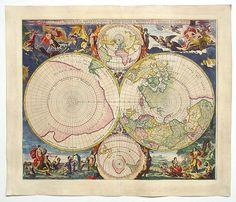 Mortier 1720 North and South Pole. Древние карты мира в высоком разрешении - Старинные карты