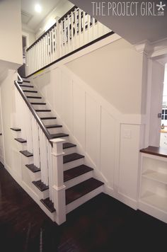 Wainscoting Staircase- craftsman style room divider columns added to DIY living room renovation. Home Renovation, Home Remodeling, House Stairs, Front Stairs, Basement Stairs, Craftsman Style Homes, Craftsman Trim, Home Projects, Craft Projects