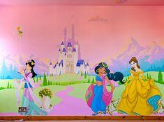 Disney Princess Bedroom Mural Informations A Princess Mural, Disney Princess Bedroom, Princess Nursery, Girl Bedroom Walls, Bedroom Murals, Home Decor Bedroom, Wall Murals, Disney Mural, Little Girl Bedrooms