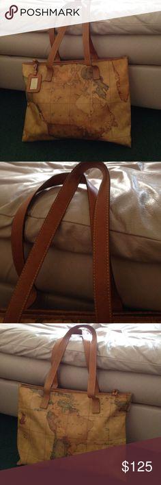 ALVIERO Martini Tote Geographically printed vinyl bag. Zip closure. 13.5' straps. Hang tag. Zip pocket inside clean interior. Wear on bottom corners & top trim. Beautiful roomy bag. Alivero Martini Bags Totes