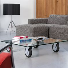 Rare Gae Aulenti Glass Coffee Table On Wheels For Fontana Arte | Tables,  Glass And Woods