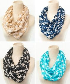 Infinity scarfs with stars. I don't know which color I like most Cents Of Style, Space Fashion, Cute Scarfs, Scarf Belt, Scarf Styles, Vintage Accessories, Types Of Fashion Styles, Passion For Fashion, Cool Outfits