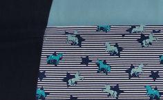 Kinderstoffe - 1124 Stoffpaket Jersey Einhorn Blau Weiß Aqua1,00m - ein Designerstück von pretty-child bei DaWanda