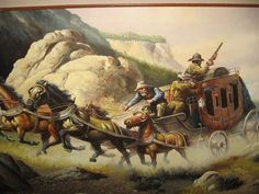$900 Large Solenson Original Western Stagecoach Oil on Canvas Framed  #Realism