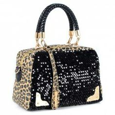 $16.12 Trendy Elegant PU Leather Women's Tote Bag With Leopard Veins and Sequins Design