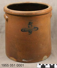 Large stoneware crock    1885–1887. This crock was made by Joseph Bayer in St. Charles, Missouri.