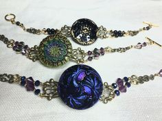 Czechoslovakian Glass Button Bracelets! One of a kind! www.buttondesigncompany.com