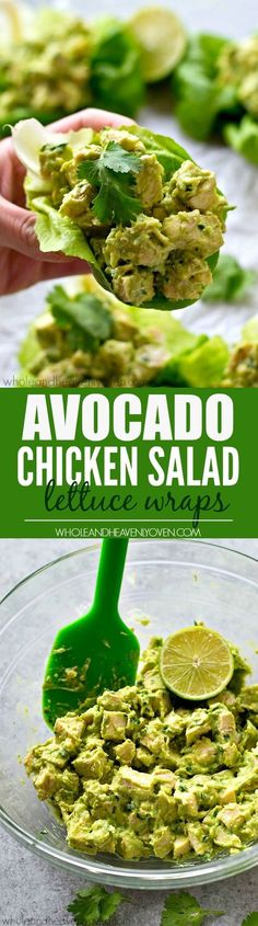 Chicken salad lettuce wraps lightened up with healthy avocado and NO mayonnaise…